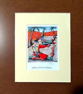 Pilates-Simon-Drew-Print-Pirates-Fitness-Mounted-Matted-Signed-Entertaining-Art