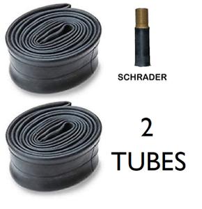 "2 x Bicycle Inner Tubes 26 x 1.75-2.125/"" Schrader Valve Black Valve Caps"