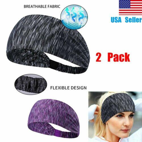 2-Pack Headband Elastic Sports Yoga Hair Band Wrap Running Sweatband Women Men