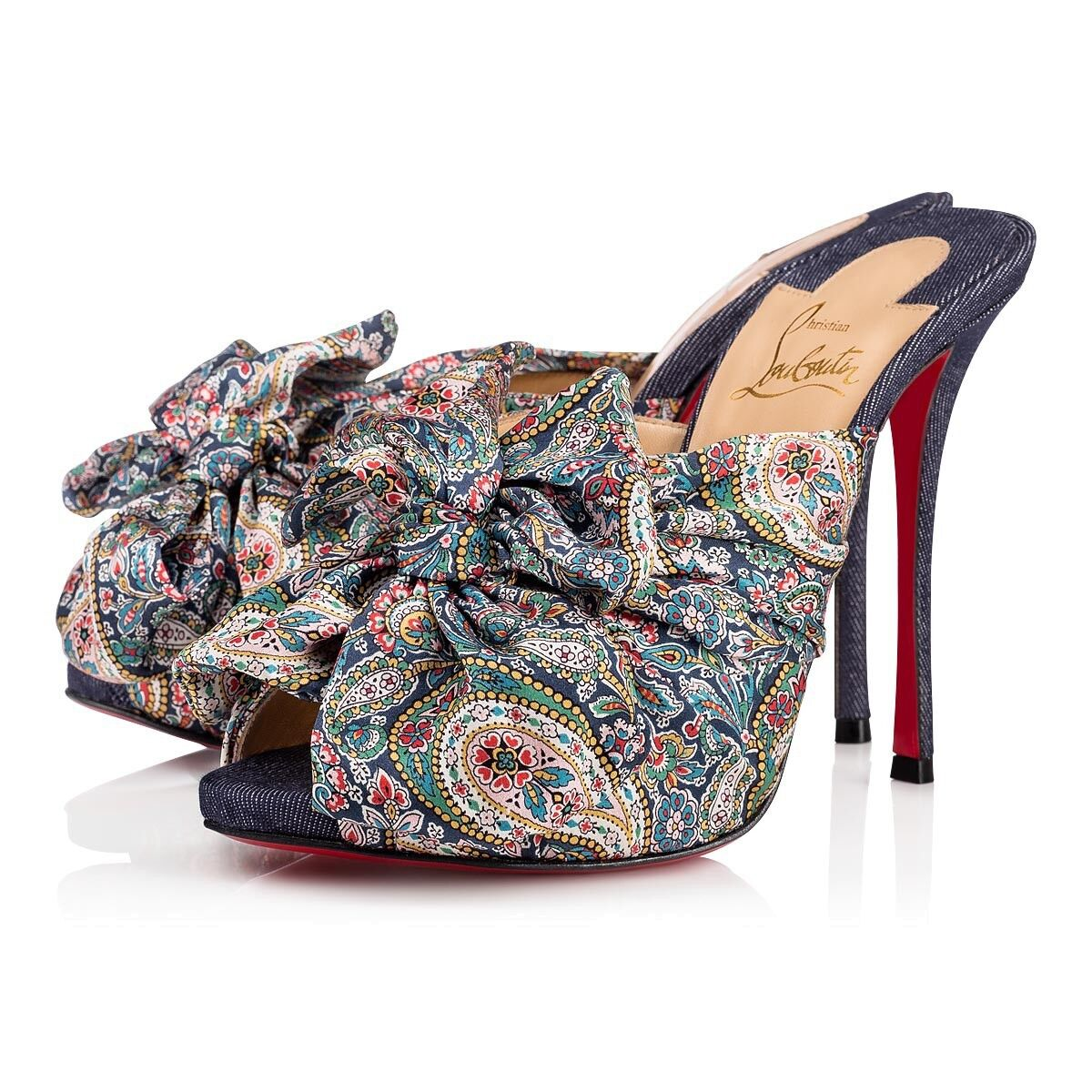 Christian Louboutin Moniquissima 120 bleu Denim Platform Sandal Heel Pump 37