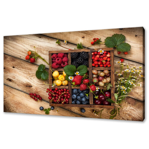 BERRIES CANVAS PRINT PICTURE WALL ART FREE FAST POSTAGE KITCHEN MODERN DESIGN
