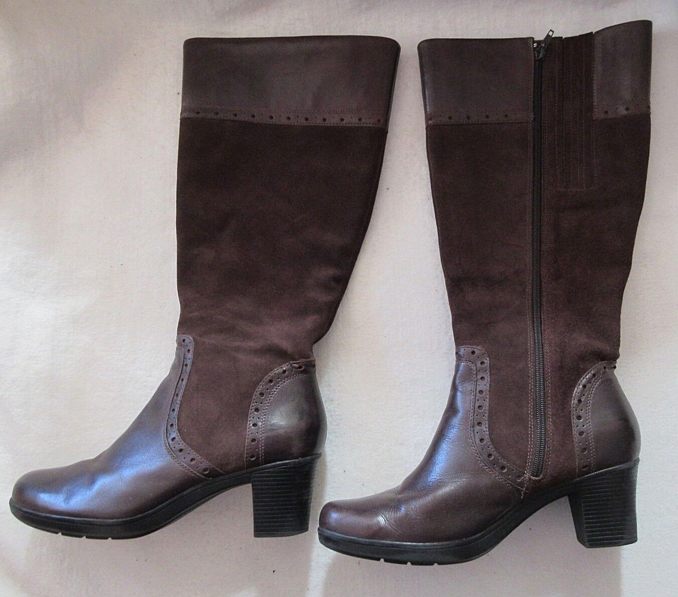 CLARKS CLARKS CLARKS Womens 12 M Dream Regal Brown Leather Suede Zip Knee High Boots 37629 322b36