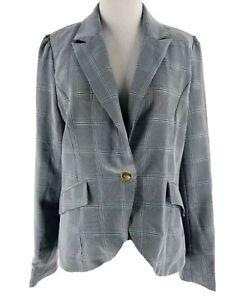 Sans Souci Women's Black White Single Button Long Sleeve Blazer Jacket Large NEW