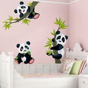 Wandtattoo-Kinder-Zimmer-Panda-Baeren-Set-Tiere-Baby-3D-XXL-Wandsticker-Aufkleber