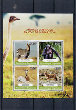 Togo 2014 MNH Endangered Animals of Africa 4v M/S I Wolf Zebra Bonobo Gazelle
