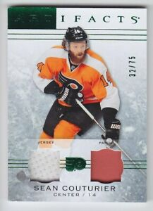 2014-15-UD-ARTIFACTS-SEAN-COUTURIER-PATCH-JERSEY-75-EMERALD-GAME-USE-15-Flyers