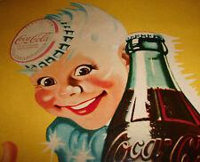 """Altes """"Trink Coca Cola ..das erfrischt"""" Schild Simili - Emaille Plakat Vintage"""