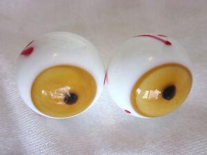 Augapfel Murmeln Augen 2 Motiviert Handgefertigt Kunstglas Ball 2.2cm Blau Oder Braun