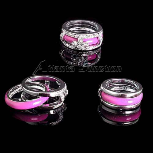 *PINK*/_/_ ENAMEL BAND RING/_SZ-8 NF/_925 STERLING Silver/_NF