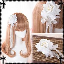 Japanese Sweet Lolita Mori Girl Lace Rose White Ribbon Hairpin Princess Handmade