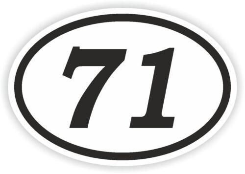 71 Seventy-One Nummer Ovale Aufkleber Stoßstange Motorrad Motocross