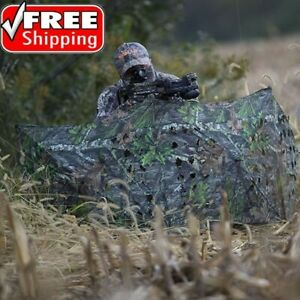 Deer Hunting Blinds Bow Ground Blind Pop Up Portable Material Turkey Camo Cover