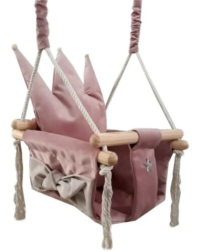 Baby Swing Swings Chair Child Wood Swing Chair Crown Toy Christmas Gift Baby
