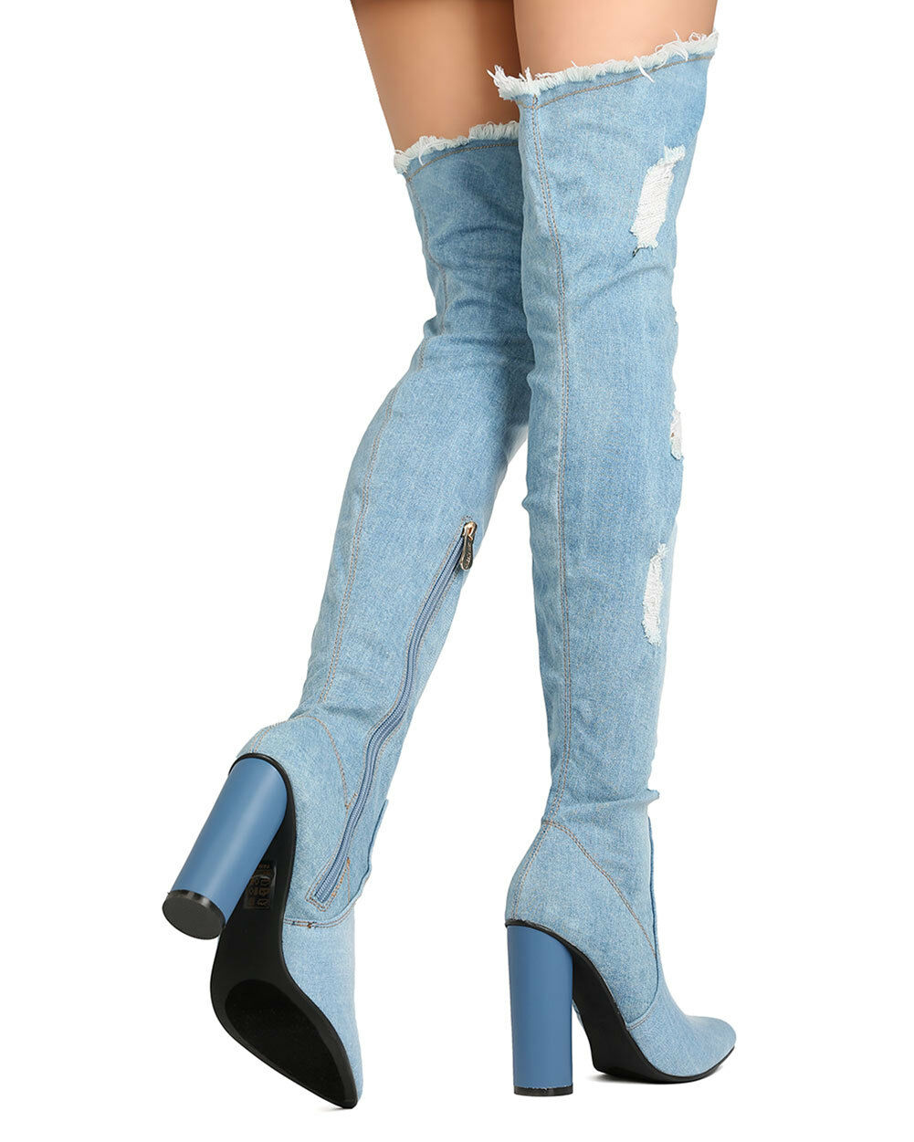 New Damens Cape Thigh Robbin Paw-42 Ripped Denim Thigh Cape High Block Heel Boot 0de373