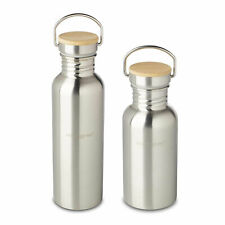 ECHTWERK  Praktische Trinkflasche  Edelstahl mit Bambusdeckel Wasserflasche