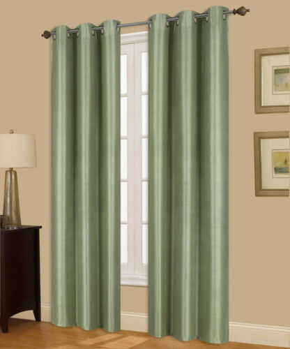 1 Set A72 SAGE Insulated Lined Foam Blackout Grommet Window Curtain Panels