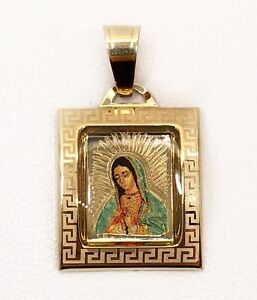 14k White And Yellow Gold Guadalupe Religious Pendant Charm