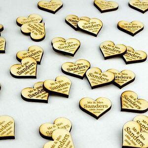 Personnalise-en-bois-Amour-Coeur-decorations-de-table-rustique-vintage-mariage-faveurs
