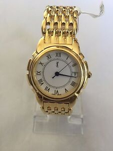YSL YVES SAINT LAURENT Women s 23K Gold Plated Swiss Watch Y2022 ... 22d30bf60ad71
