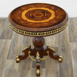 Contemplatif Table Ronde Gueridon Style Empire En Marqueterie Acajou Amarante