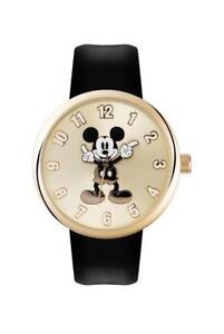 Disney-Mickey-Mouse-Unisex-Reloj-Correa-Negro-Caso-De-Oro-MN1443-PVP-35