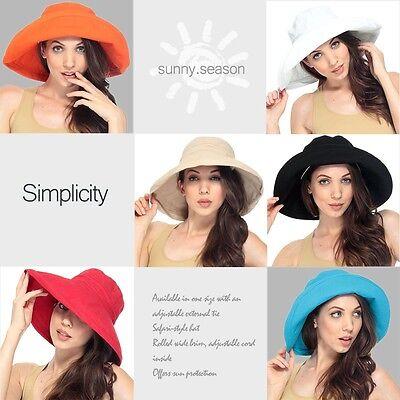 Women's Cotton Beach Bucket Hat Wide Brim Outdoor Fishing Sun Protection Hat
