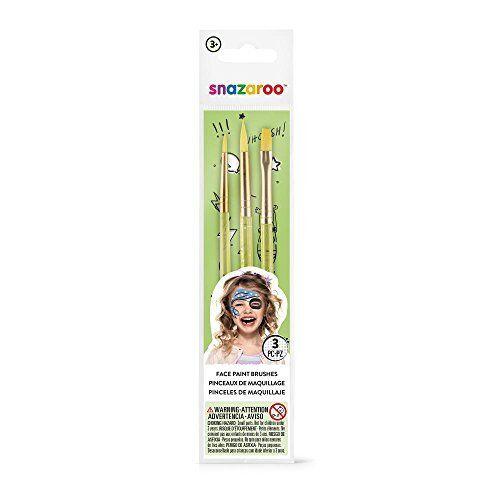 Snazaroo Unisex Face Painting Brushes - Green, Set of 3