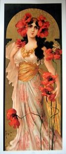 art-print-LOLITA-Mary-Golay-tall-lady-woman-red-Poppies-vtg-repro-yardlong-16x37