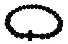 bracelet homme femme croix chapelet NOIR  gourmette fashion shamballa rosary