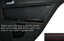 RED Stitch 2x POSTERIORE PORTA CARD Trim pelle copertura Si Adatta Mitsubishi Lancer Evo X 10