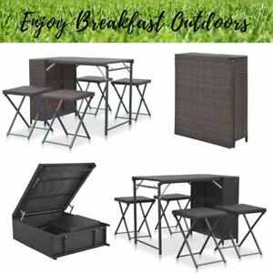 Image Is Loading Stowaway Dining Table Amp 4 Stools Rattan Style