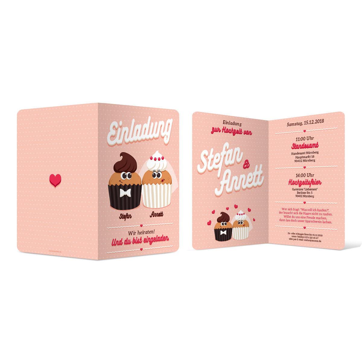 Hochzeit Einladungskarten Einladung Klappkarten individuell süß - Cute Cupcakes   | Moderate Kosten  | Verrückte Preis