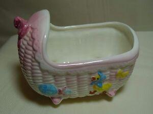 Mid-Century-Pink-Ceramic-Baby-Bassinet-Cradle-Planter-Made-in-Japan-6201
