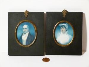 19thC Mr & Mrs JAQUES of RISELEY HALL - RIPON Pair Antique Portrait Miniatures