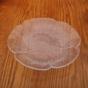 Clear-Frosted-Shell-Glass-Plate-Vintage