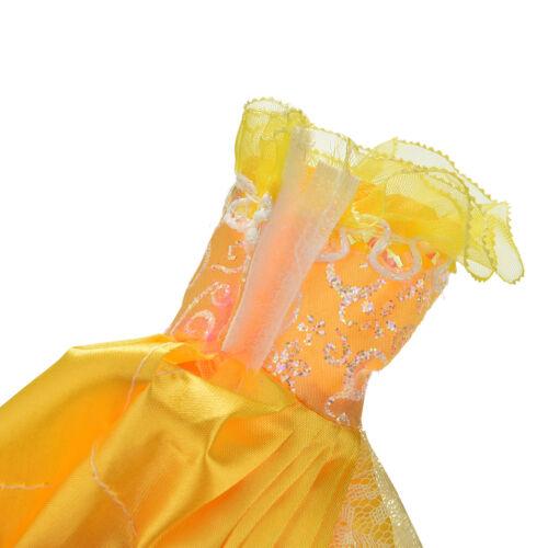 "1 Pcs Yellow Handmade Wedding Lace 4 Layers Dress for 11/"" s E/&F"