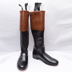 18th-century-Long-cuffed-ridding-boots-French-Black-Brown-Real-Leather-Cuff-WLC