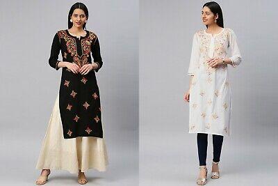 New Year Ethnic Look Chikankari Cotton Angarkha Kurta Party Wear Anarkali Kurti