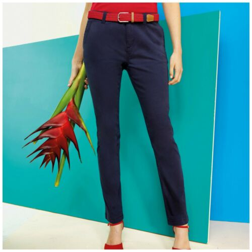 Womens Ladies Chinos Chino Jeans Trousers Straight Regular Fit Stretch Cotton