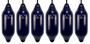 FREE ROPE 6 x HURRICANE Boat Fenders INFLATED Navy PM03