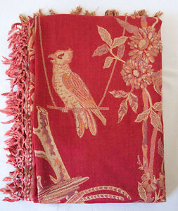 Red-Jacquard-Throw-or-Bedspread-Wool-amp-Silk-Chinoiserie-Jamavar-Shawl-Wrap