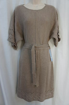 London Times Dress Sz M Hemp Color Knit Acrylic Belted Casual Sweater Dress
