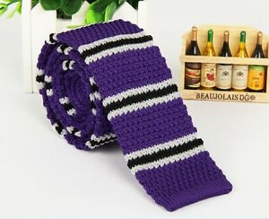Mens-Purple-Striped-Tie-Knit-Knitted-Tie-Necktie-Narrow-Slim-Skinny-Wove-ZZLD302