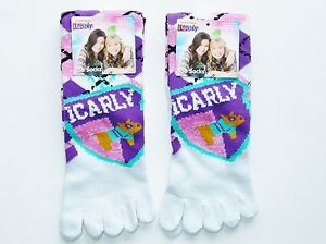 2-Pairs-iCARLY-Girl-039-s-or-Women-039-s-White-Comfy-Toe-Socks-Shoe-Sizes-4-10-NEW