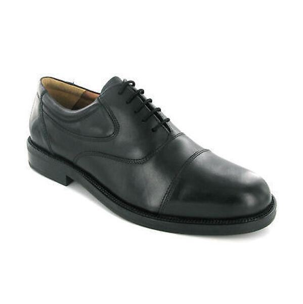 Herren Alle Leder-Sohlen Schuhe Schwarz Kurze Works Größe 12