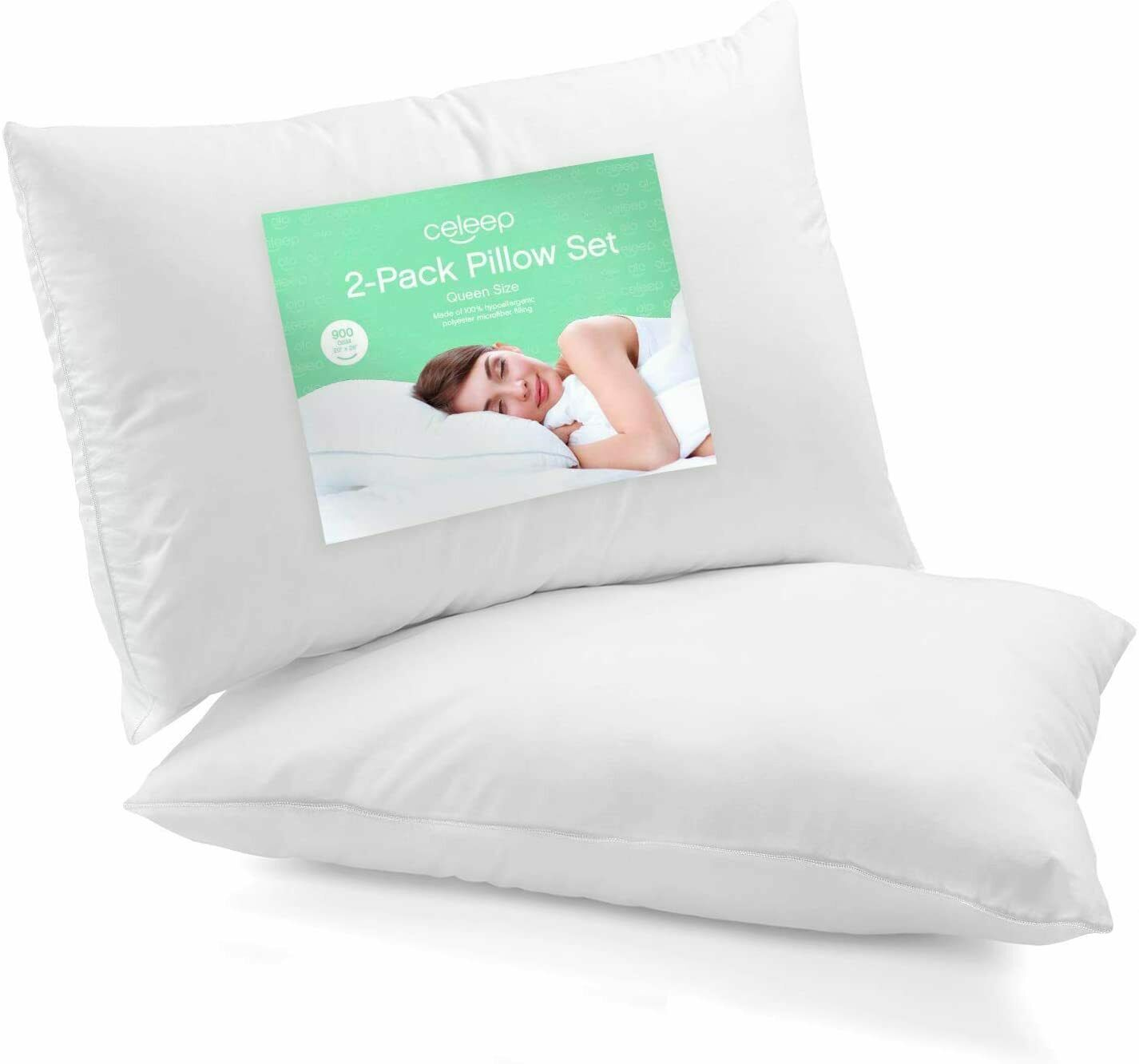 Soft Fiber Fill 20x30 2-Pack Queen Size Bed Pillows for Sleeping Mid Loft