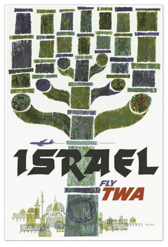 Airways 24x36 Menorah Travel Art Poster Large ISRAEL Airlines Travel Print