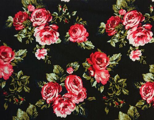 Viscose 1902 Black//Pink Printed Dress Fabric 150 cm wide sold @ £4.99 per mtr.