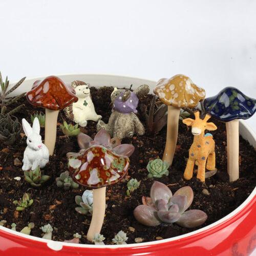 Garden Plant Decor 4Pcs Ceramic Mushroom Toadstools Fairy Yard Ornament