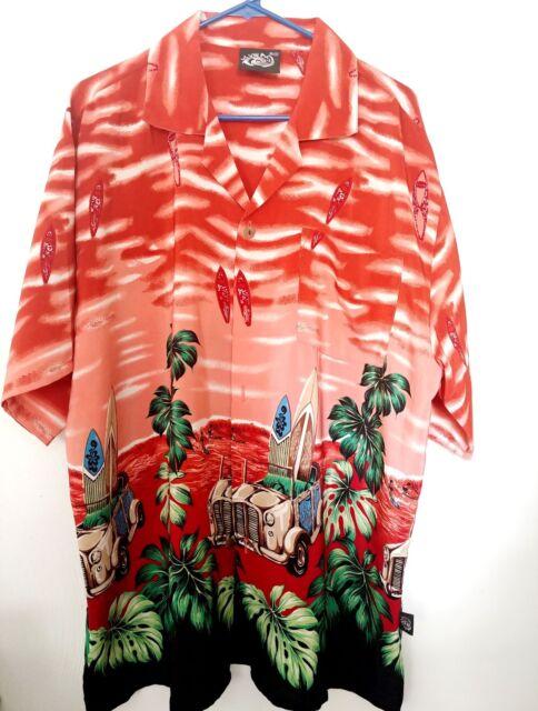 711b7b29 Mens Hawaiian Shirt Uluwatu Aloha Red Surfboards XXL Vintage Car Palm Trees